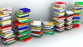 Books piles and wall — Stockfoto