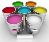 Open buckets with a paint and rollers — Foto de Stock