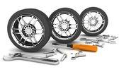 Wheel and Tools — Stock Photo