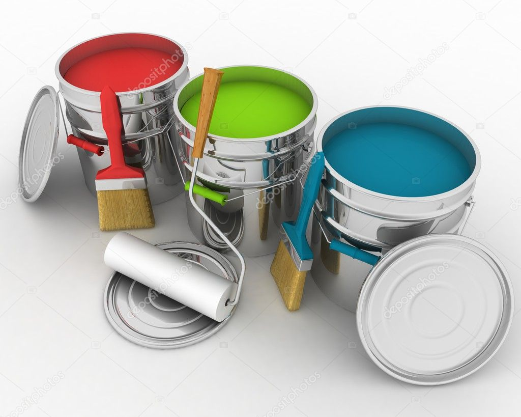 Open buckets with a paint, brush and rollers — Stock Photo ...