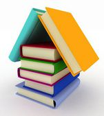 House built from books — Stock Photo