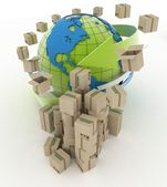 Cardboard boxes around globe — Stock Photo