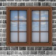 Plastic window on a brick wall — Stock Photo