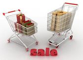 Shopping carts with boxes and dollars. — Stock Photo