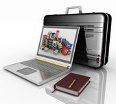 Silvery laptop, notepad and pen with black brief-case — Stock Photo