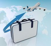 Airliner and suitcase — Stock Photo