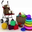 Royalty-Free Stock Photo: Child\'s toys in a small basket and pram