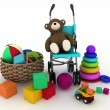 Child's toys in a small basket and pram - Photo