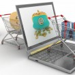 Shopping carts and laptop — Stock Photo