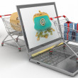 Shopping carts and laptop — Stock Photo #26810891
