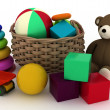 Child's toys in a small basket — Stock Photo