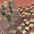 Damaged assembling of gold blocks — Stock Photo