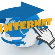 "Earth globe and hand cursor on a word ""internet"". — Stock Photo"