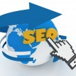 "Earth globe and hand cursor on a word ""seo"" — Stock Photo"