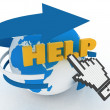 "Earth globe and hand cursor on a word ""help"". — Stock Photo"