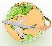 Passenger jet airplane travels. — Stock Photo