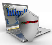 Notebook with shield. Internet security concept. — Stock Photo