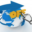 "Earth globe and hand cursor on a word ""off"" — Stock Photo"