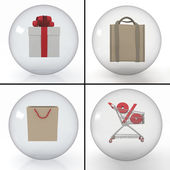 Set of objects for shopping — Stock Photo