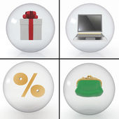 Set of objects for shopping on the internet — Stock Photo