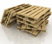 Pallet di legno su sfondo bianco — Foto Stock