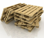 Wooden pallets on the white background — Foto Stock
