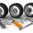 Wheel and Tools. Car service. Isolated 3D image — Stock Photo #29197469