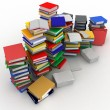 3d illustration of books  and folder for papers piles — Stock Photo