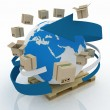 Stock Photo: Cardboard boxes around globe on pallet. Worldwide shipping concept. 3d illustration on white background.