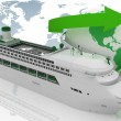 Liner cruise for a round-world voyage. 3d render illustration — Stock Photo