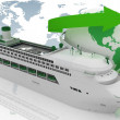 Stock Photo: Liner cruise for round-world voyage. 3d render illustration