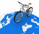 Bicicletta rotolando sul globo. concezione del turismo su un trasporto ecologico. — Foto Stock