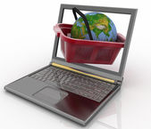 Basket of visit of shop with globe in a notebook — Stock Photo