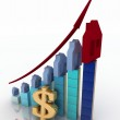 Diagram of growth in real estate prices and sign of dollar — Stock Photo #29856469
