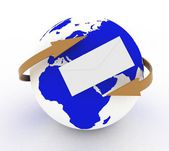 Envelope icon and earth with arrows — Stock Photo
