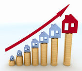 Diagram of growth in real estate prices. — Stock Photo