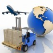 Stock Photo: Airplane and autoloader with boxes on background globe