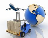 Airplane and autoloader with boxes on a background a globe — Stock Photo