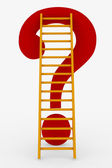 Red ladder to the top of question mark. — Stockfoto