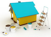 3d house with paints and step-ladder. Conception of repair works — Stock Photo