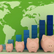 Piggy banks with colorful chart on a map background — Stock Photo