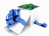 Gift box full of Christmas balls — Stock Photo