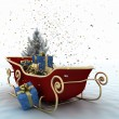 Christmas sledges of Santa with gifts — Stok fotoğraf