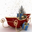 Christmas sledges of Santa with gifts — Stock Photo