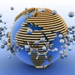 Globe with molecules. 3d abstract background — Foto Stock