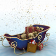 Christmas Santa's sleigh with presents on a background of falling snow — Lizenzfreies Foto