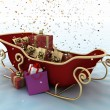 Christmas Santa's sleigh with presents on a background of falling snow — Foto Stock