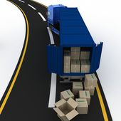 Truck with boxes. 3d illustration — Stock Photo