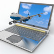 3d passenger jet takes off from laptop monitor. — Stock Photo #36386523