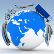 Types of transport on a globe — Stock Photo